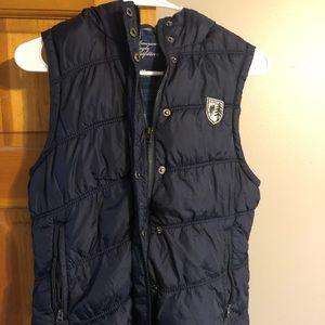 Navy Blue American Eagle Puffer Vest